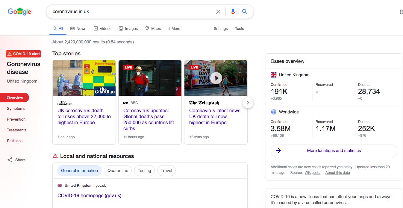 google coronavirus search feature screenshot