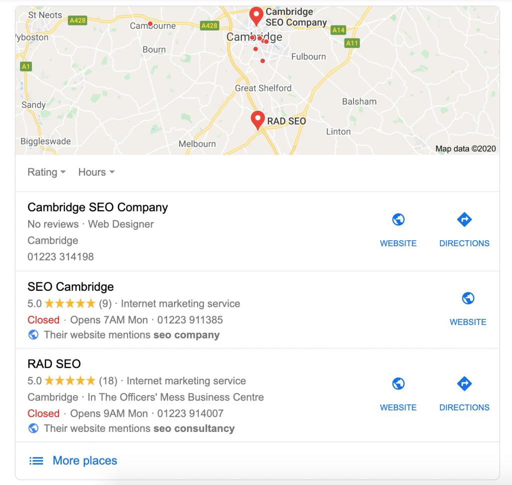 seo cambridgeshire google my business - SEO